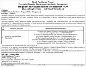 Provincial Disaster Management Authority PDMA Latest Component Management Jobs 2020