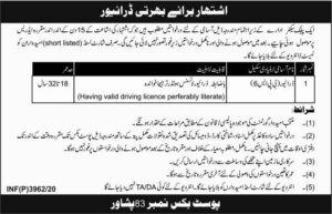 Public Sector Organization Peshawar Latest New Driver Jobs 2020