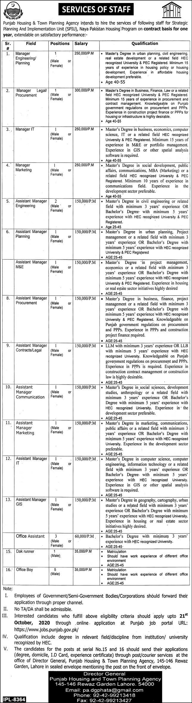 Punjab Housing And Town Planning Agency Program Lahore Latest Assistant Jobs 2020