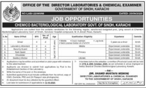 Services Hospital Director Laboratories And Chemical Examiner Latest Karachi Jobs 2020