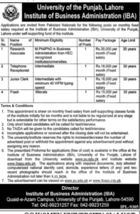 University Of The Punjab Lahore Institute Of Business Administration IBA Administrative Latest Jobs 2020