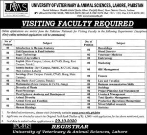 Uvas Lahore Visiting Faculty Jobs 2020 at University Of Veterinary And Animal Sciences