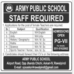 Army Public School Rawalpindi Latest Teaching Jobs In Jang Newspaper 2020