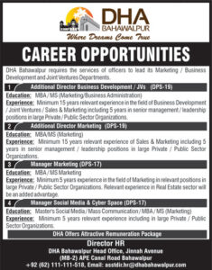 Defence Housing Authority Dha Bahawalpur The Nation Newspaper Latest Jobs 2020
