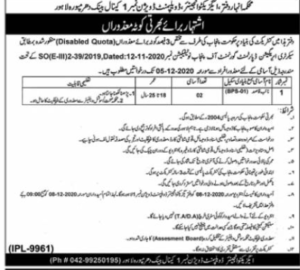 Executive Engineer Irrigation Division Dharampura Lahore Latest Disabled Persons Jobs 2020