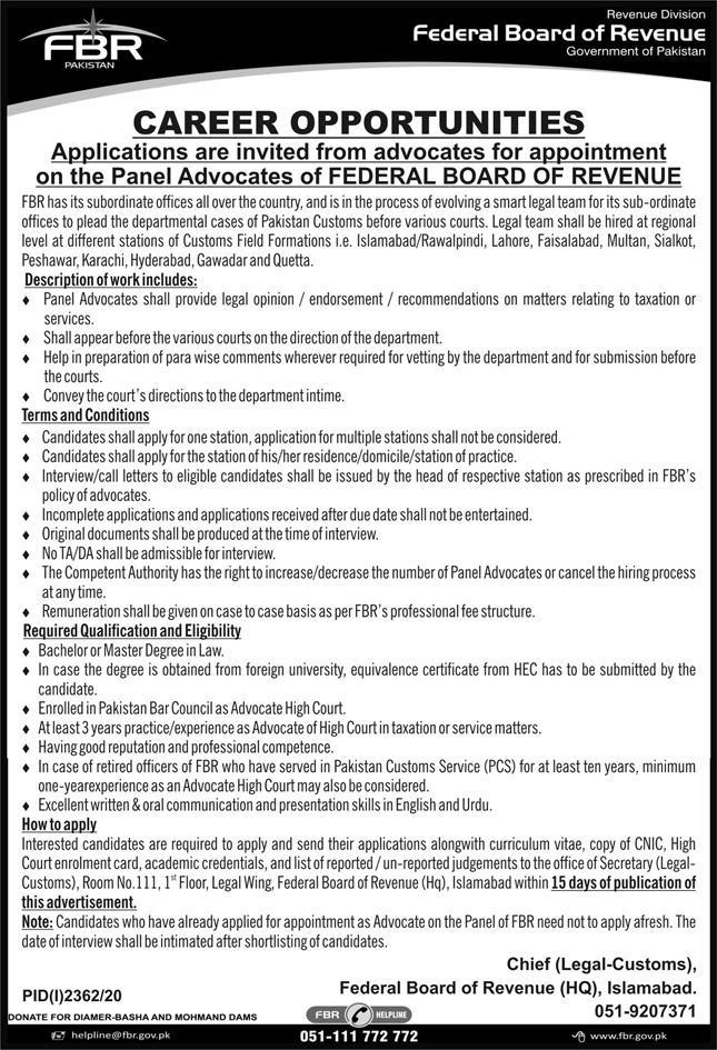 Federal Board Of Revenue Government Of Pakistan Latest Legal Jobs 2020