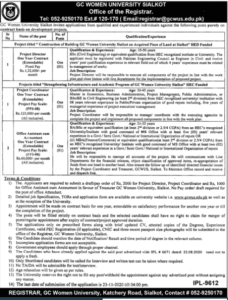 Gc Women University Gcwu Sialkot Administrative New Jobs 2020