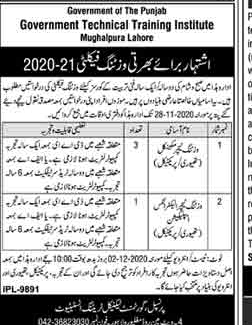 Government Technical Training Institute Visiting Faculty New Jobs 2020