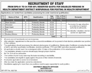 Health Department District Mirpur Khas Dawn Newspaper New Administrative Jobs 2020