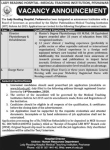 Lady Reading Hospital Medical Teaching Institution LRH MTI Latest Peshawar Jobs 2020
