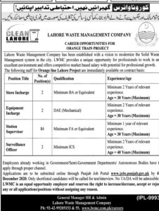 Lahore Waste Management Company Lwmc Latest Technical Jobs 2020