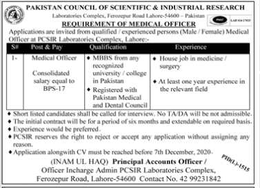 Medical Jobs In Jang Newspaper 2020 Pakistan Council Of Scientific And Industrial Research