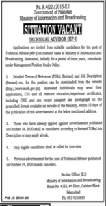 Ministry Of Information And Broadcasting Govt Of Pakistan Latest Islamabad Jobs In Jang 2020
