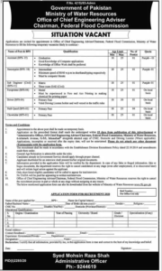 Ministry Of Water Resources Federal Flood Commission Islamabad Administrative Jobs 2020