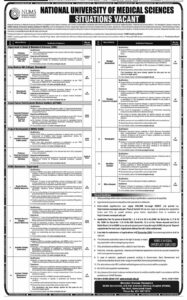 National University Of Medical Sciences Nums Islamabad Jobs Latest Teaching And Non Teaching