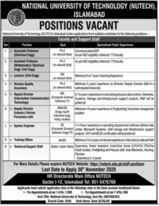 National University Of Technology Islamabad Nawaiwaqat Newspaper Teaching Jobs 2020