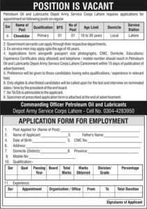 Petroleum Oil And Lubricant Depot Army Corps Latest Lahore Jobs 2020