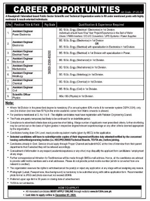 Public Sector Scientific And Technical Organization Latest Jobs In Islamabad 2020