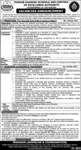 Punjab Daanish School And Centers Of Excellence Authority Latest Manager Jobs 2020