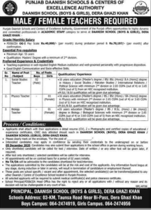 Punjab Daanish School And Centers Of Excellence Authority Latest Teaching Jobs 2020