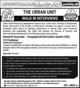The Urban Unit Lahore Research Associate Jobs 2020, Murtazaweb.com