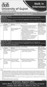 University Of Gujrat Uog Walk In Interview For Researchers Latest Jobs 2020