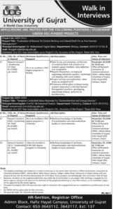 University Of Gujrat Walk In Interviews Jobs 2020, Murtazaweb.com