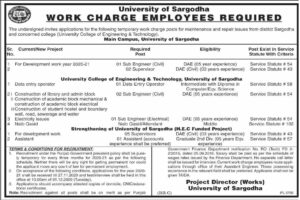 University Of Sargodha Uos Work Charge Employees Sub Engineer New Jobs 2020