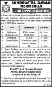 Pakistan Air Force Paf Jobs December 2020 Online Apply for Civil Inspector