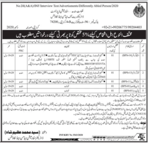 Disabled Persons Jobs In Jang Newspaper 2020 in Information Department Karachi