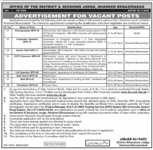 District And Session Judge Shaheed Benazirabad Administration Latest Jobs 2020