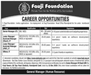Fauji Foundation Jobs 2021 in Rawalpindi for Junior Manager