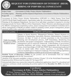Governance And Policy Project Khyber Pakhtunkhwa Consultant New Jobs 2020