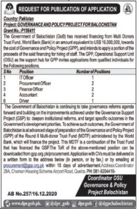 Governance and Policy Project Balochistan Latest Jobs 2021 for Accountant-Driver
