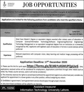 Information Technology University Itu Lahore Researchers Latest Jobs 2020