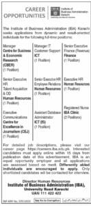 Institute of Business Administration IBA latest Jobs 2021 in Karachi