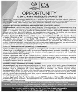 Institute of Charted Accountants of Pakistan ICAP Senior Officer Jobs 2021