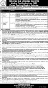 Khyber Teaching Hospital Mti Peshawar Hr Officer Latest Jobs 2020