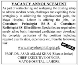 Mayo Hospital Consultant Pathologist Jobs 2020 in Lahore