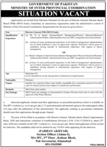 Ministry Of Inter Provincial Coordination Islamabad Latest Jobs in Administration 2020