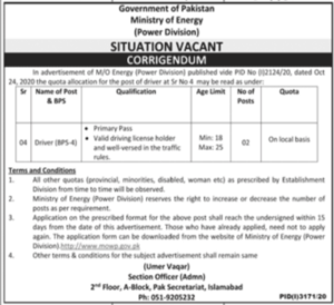 Ministry of Energy Power Division Driver Latest Jobs 2021 in Islamabad