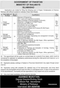Ministry of Railways Islamabad Project Coordinator, Manager Jobs 2020