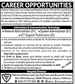 Pakistan Kidney And Liver Institute Of Research Centre Lahore Jobs In Jang Newspaper 2020