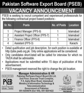 Pakistan Software Export Board Pseb Accounts And Finance Mew Officer Jobs 2020