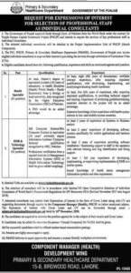 Primary And Secondary Healthcare Department Consultant Latest Lahore Jobs 2020