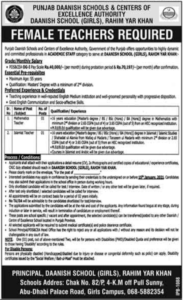 Punjab Daanish Schools & Centers Of Excellence Authority Teaching Jobs 2021