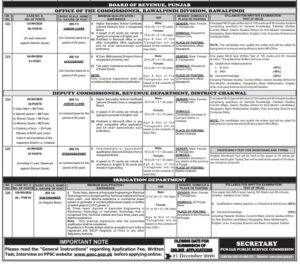 Punjab Police PPSC Jobs December 2020 | Deputy Commissioner-Irrigation-Agriculture Department