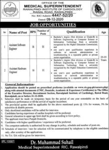 Rawalpindi Institute Of Cardiology Ric Engineering Latest Jobs 2020