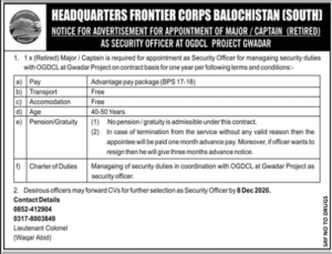 Security Officer Jobs In Pak Army Headquarters Frontier Corps Balochistan 2020