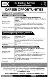 The Bank Of Khyber Bok Bank Jobs In Lahore For Bachelor Pass Candidates Jang Newspaper 2020